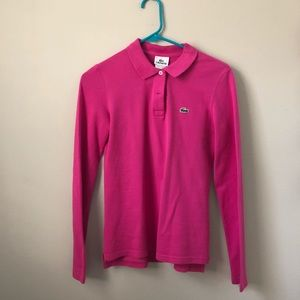 Lacoste Pink Long Sleeve Polo Shirt